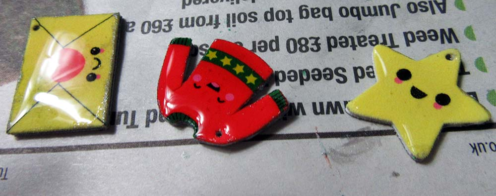 christmas shrink plastic epoxy charms