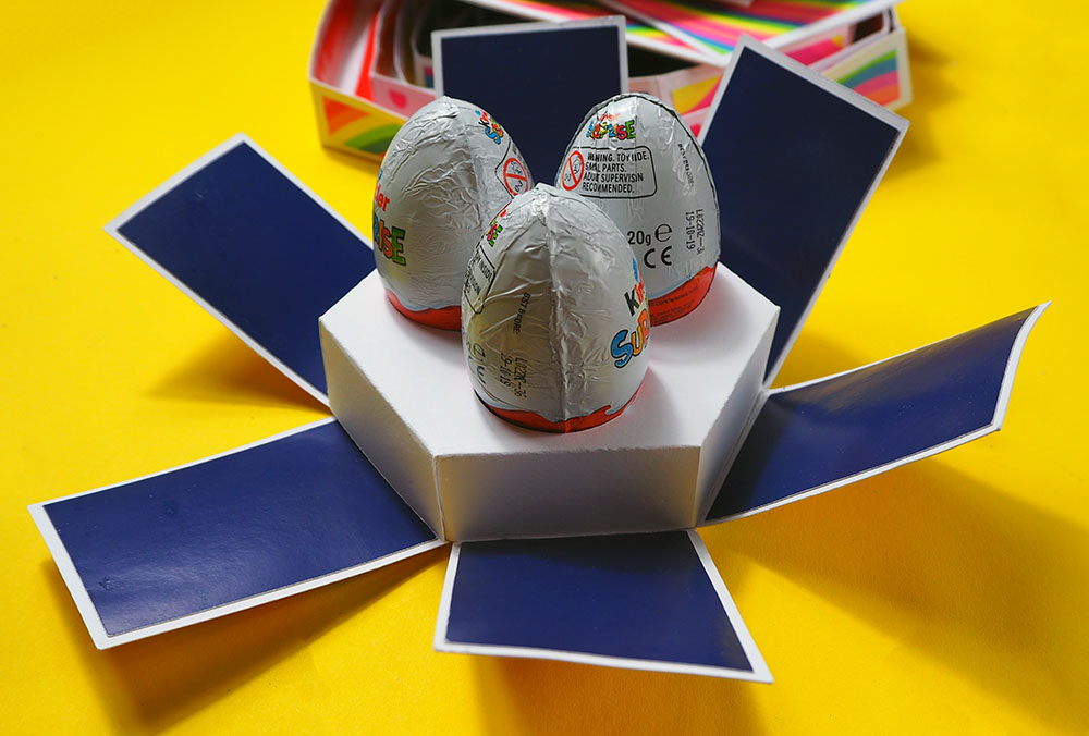 chocolate eggs in explosion box