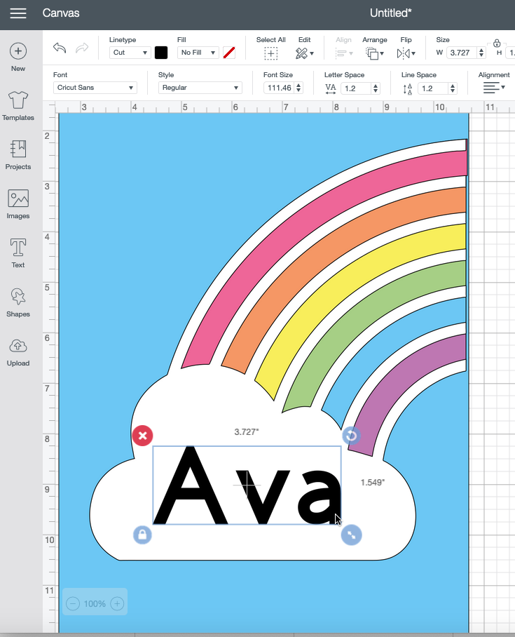 Resizing text in Cricut Design Space