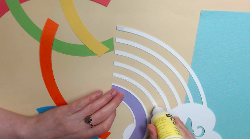 glue on rainbow paper art